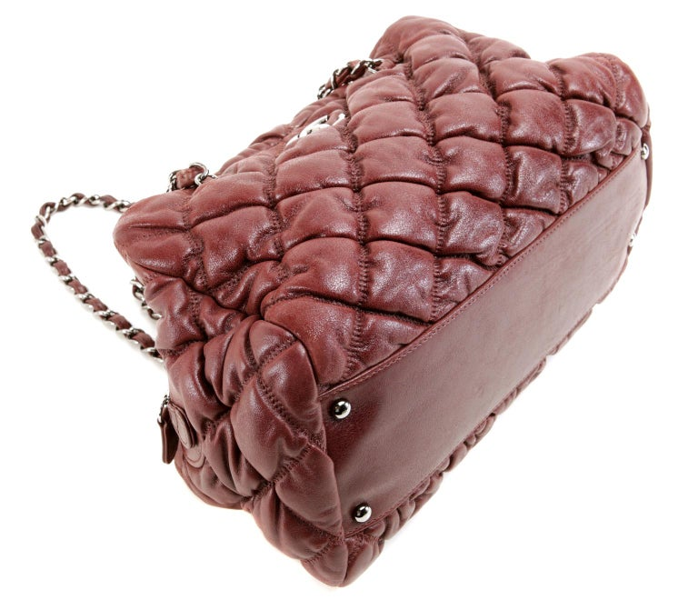 Women's Chanel Dark Red Leather Bubble Quilt Bag For Sale
