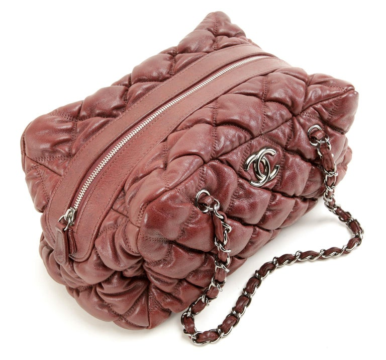 Chanel Dark Red Leather Bubble Quilt Bag For Sale 1