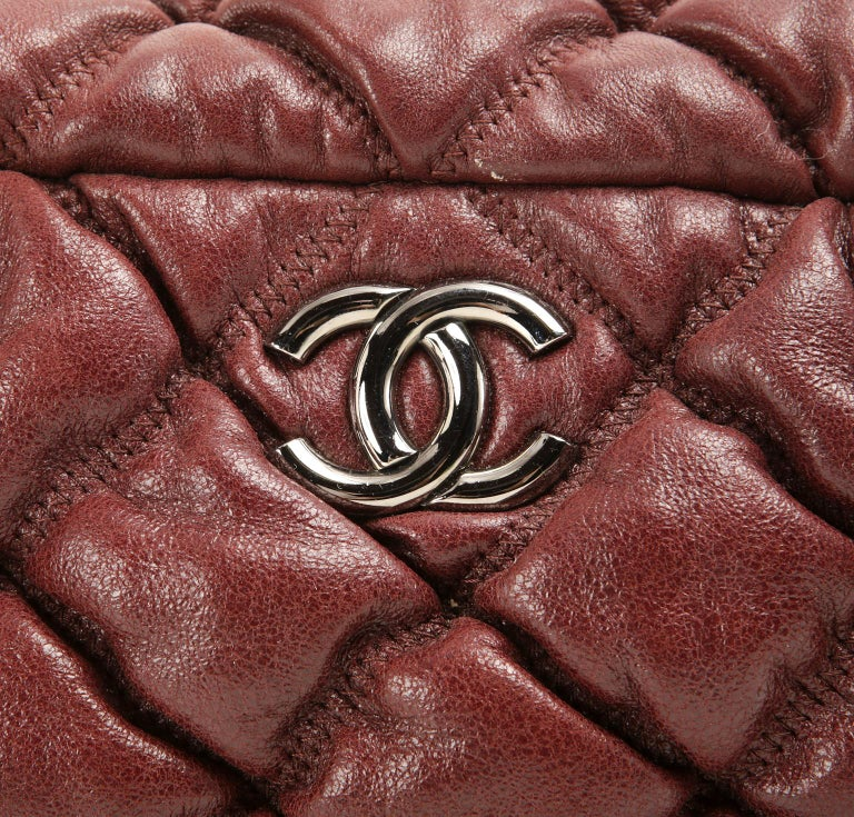 Chanel Dark Red Leather Bubble Quilt Bag For Sale 2