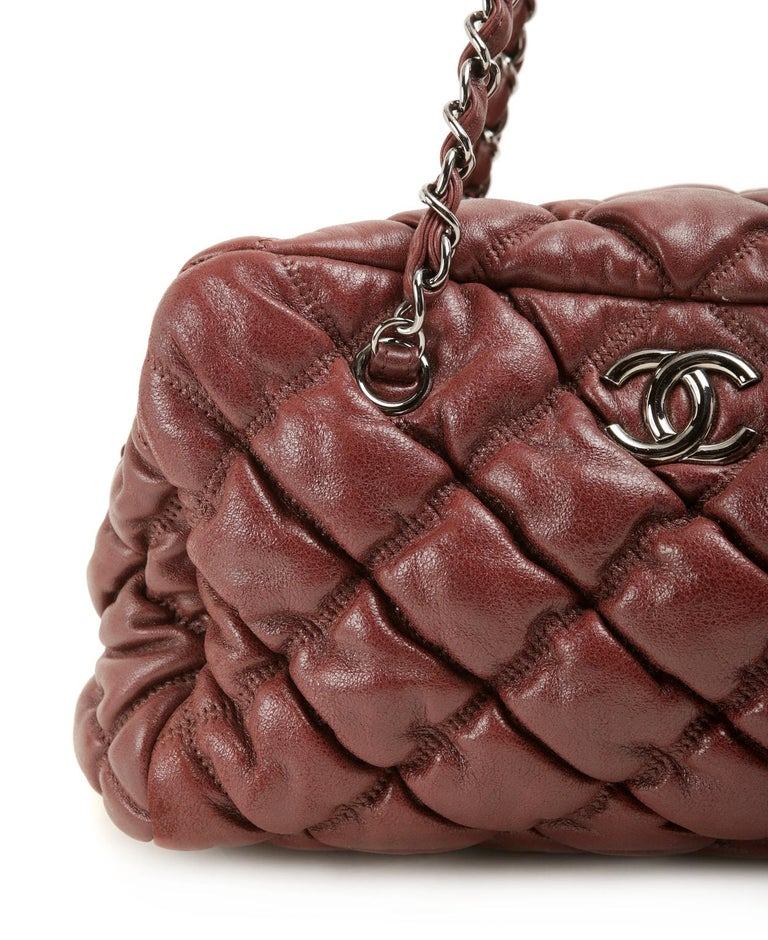 Chanel Dark Red Leather Bubble Quilt Bag For Sale 3