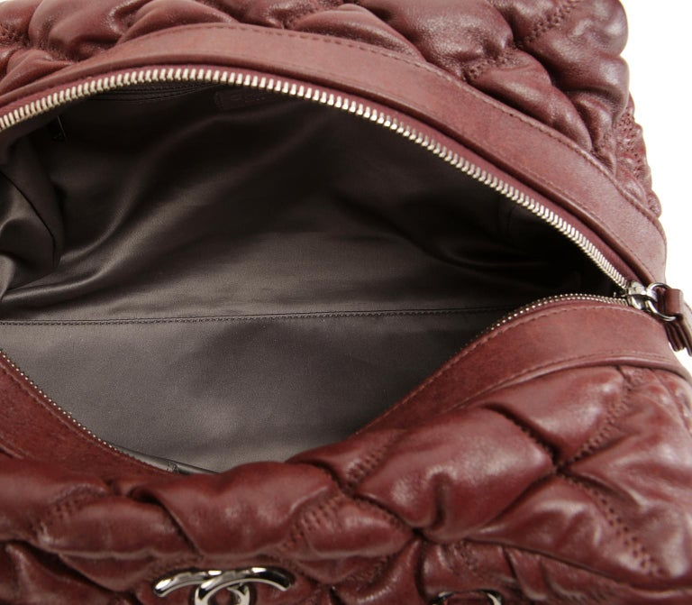 Chanel Dark Red Leather Bubble Quilt Bag For Sale 4