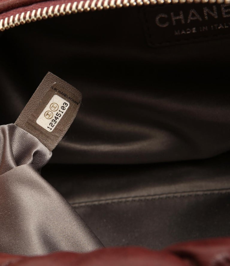 Chanel Dark Red Leather Bubble Quilt Bag For Sale 6