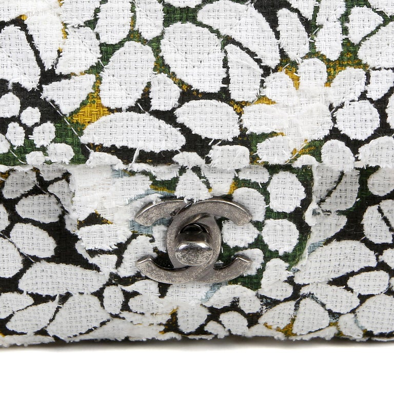 Women's Chanel White Floral Tweed Double Flap Classic For Sale