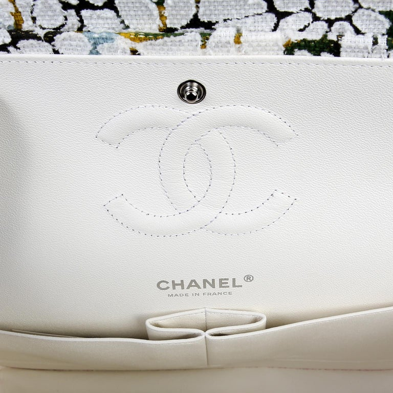 Chanel White Floral Tweed Double Flap Classic For Sale 4