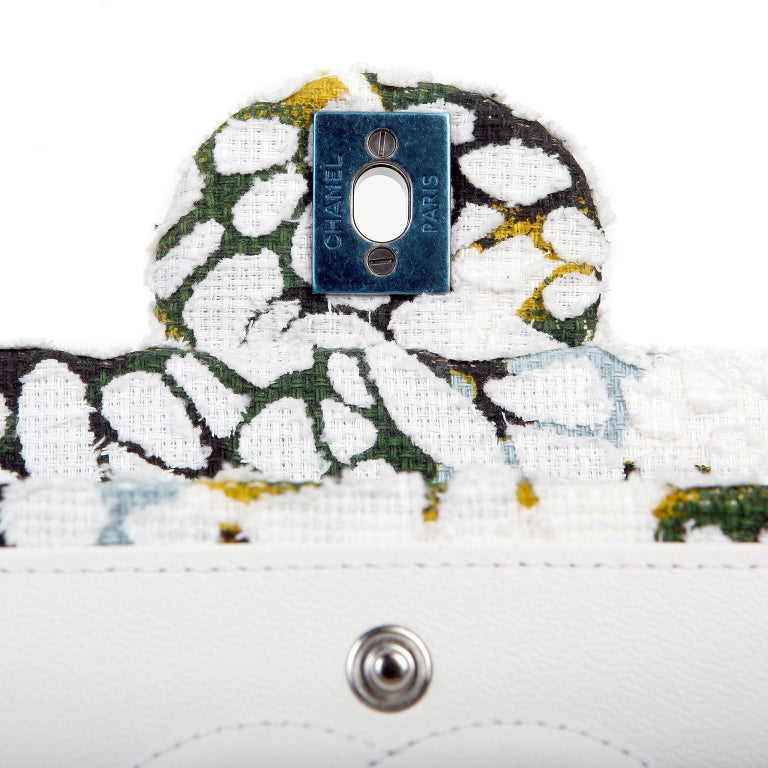 Chanel White Floral Tweed Double Flap Classic For Sale 5