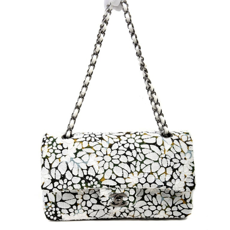 Chanel White Floral Tweed Double Flap Classic For Sale 7
