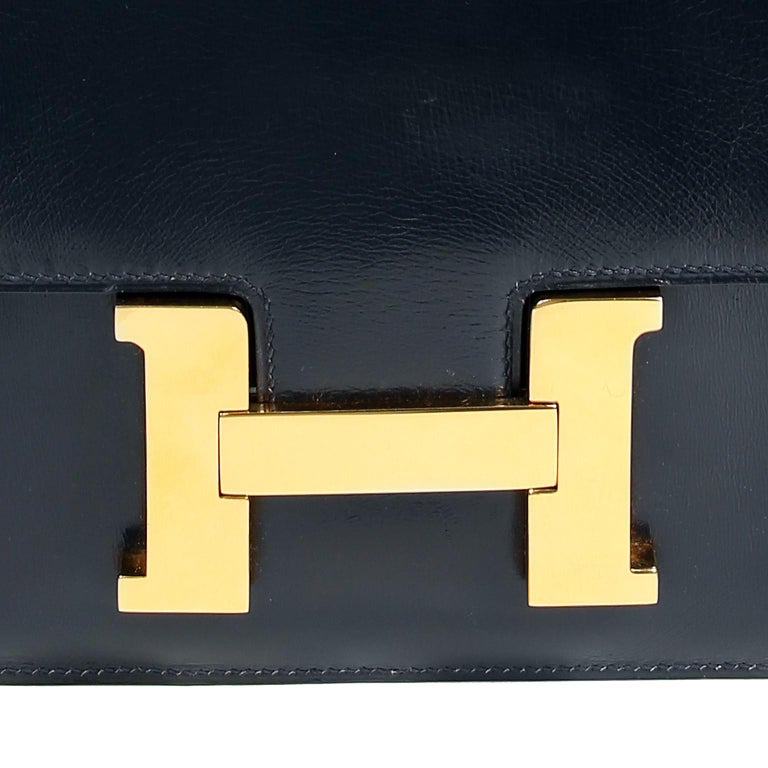 Hermes Navy Indigo Box Calf Constance 23 Bag For Sale 1