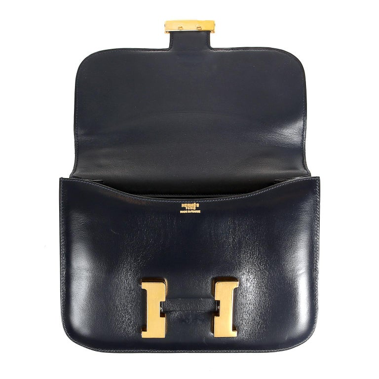 Hermes Navy Indigo Box Calf Constance 23 Bag For Sale 2