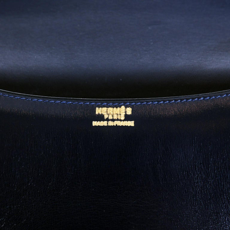 Hermes Navy Indigo Box Calf Constance 23 Bag For Sale 6