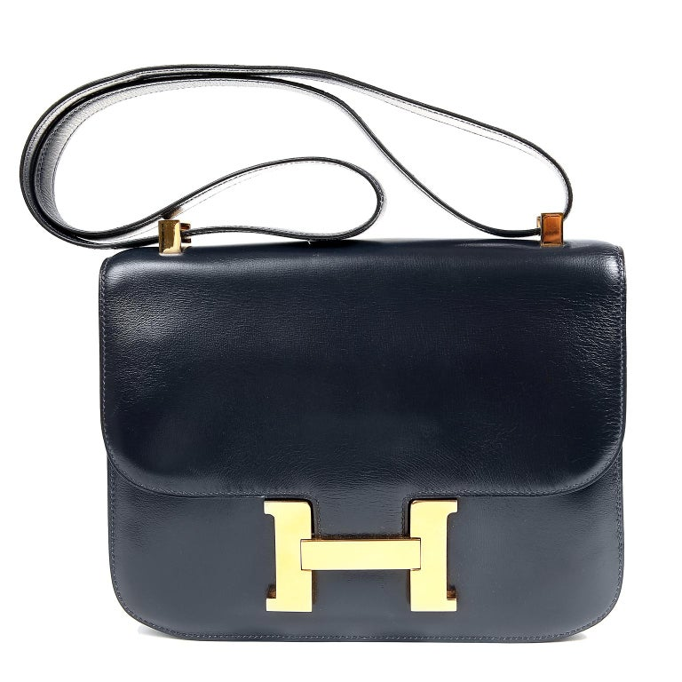 Hermes Navy Indigo Box Calf Constance 23 Bag For Sale 9