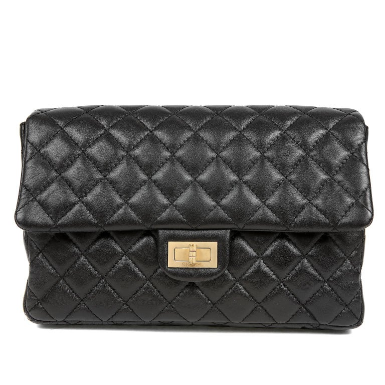 Chanel Black Quilted Leather Mademoiselle Flap Bag For Sale 2