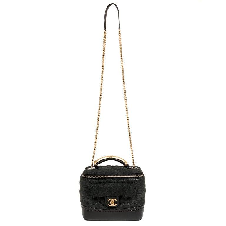 Chanel Black Leather Globetrotter Bag For Sale 8