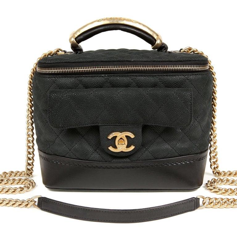 Chanel Black Leather Globetrotter Bag For Sale 9