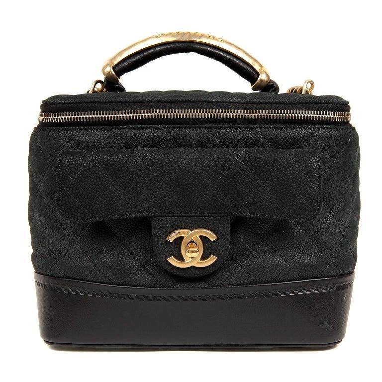 Chanel Black Leather Globetrotter Bag For Sale 10