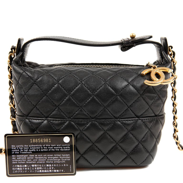 Chanel Black Quilted Leather Crossbody Bag For Sale 9