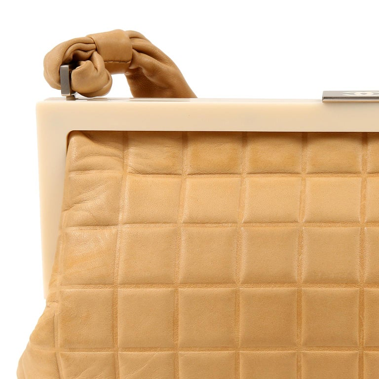 Women's Chanel Beige Leather Square Quilted Frame Bag For Sale