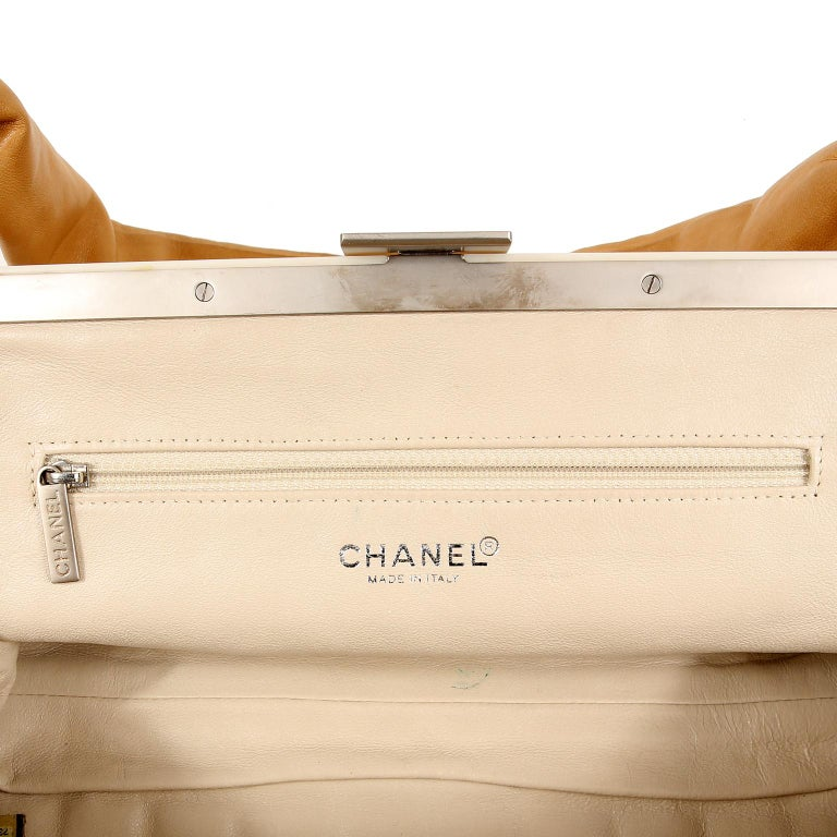 Chanel Beige Leather Square Quilted Frame Bag For Sale 6