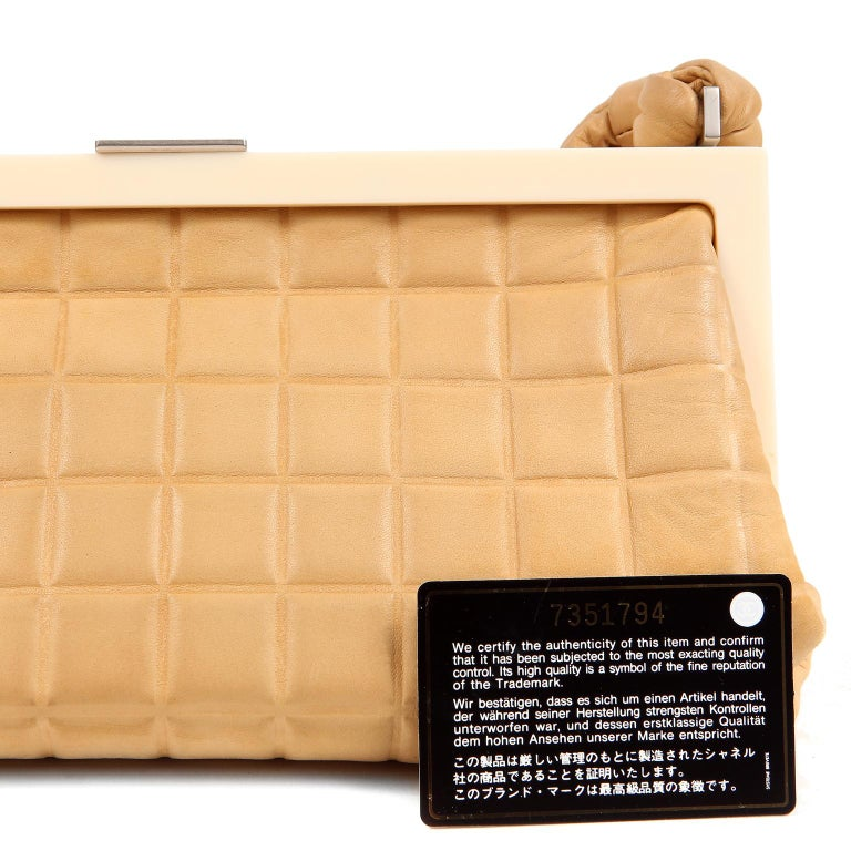 Chanel Beige Leather Square Quilted Frame Bag For Sale 8