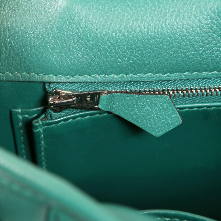Hermes Malachite Swift Berline Bag 28 cm For Sale 7