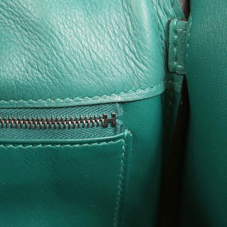 Hermes Malachite Swift Berline Bag 28 cm For Sale 8