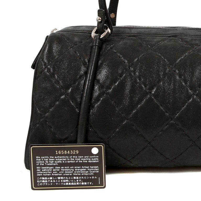 Women's Chanel Black Brushed Lambskin Bowler For Sale