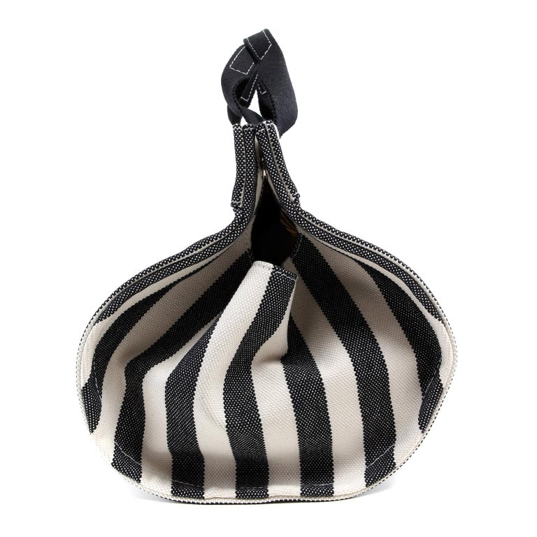 Women's or Men's Hermes Black and White Striped Canvas Tote with pochette For Sale