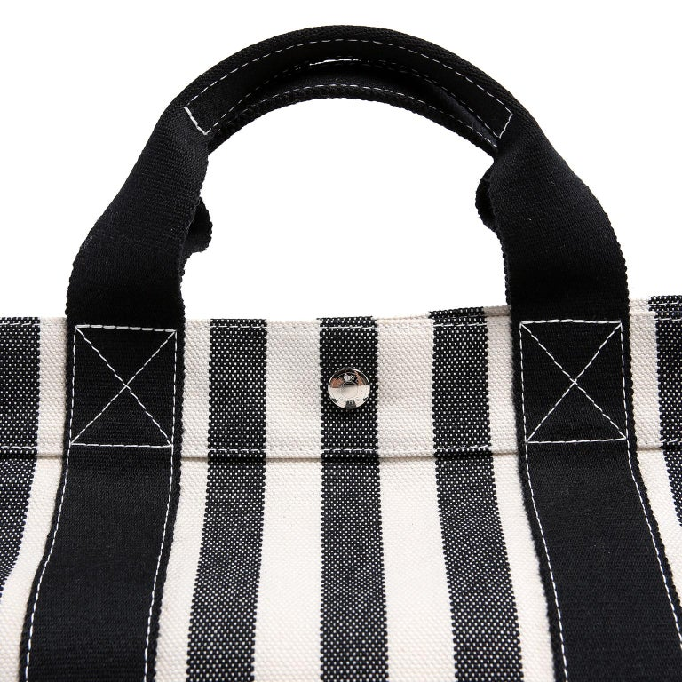 Hermes Black and White Striped Canvas Tote with pochette For Sale 4