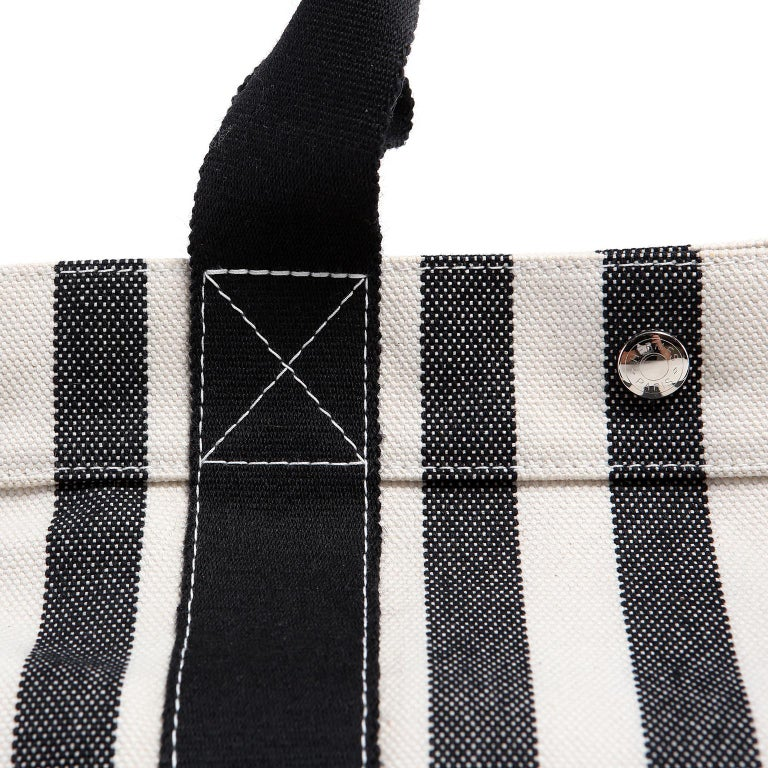Hermes Black and White Striped Canvas Tote with pochette For Sale 5