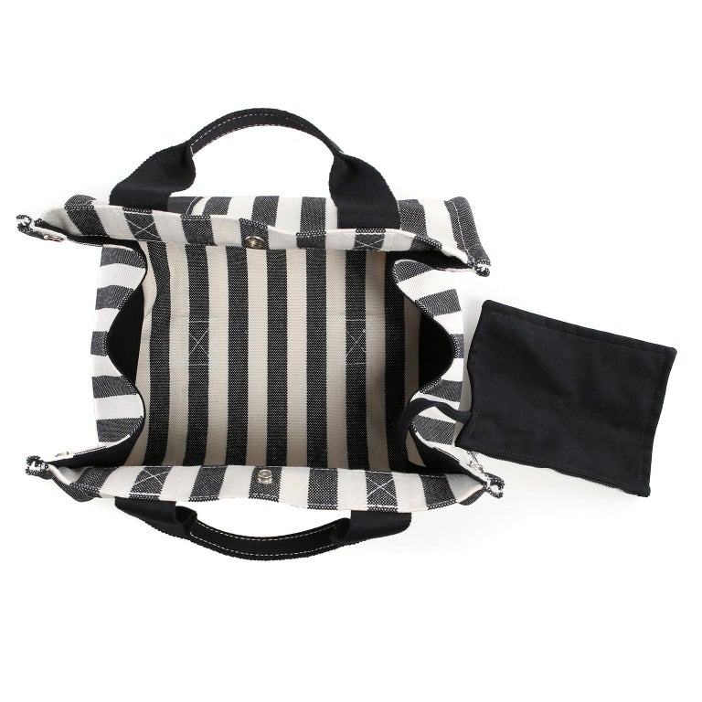 Hermes Black and White Striped Canvas Tote with pochette For Sale 7