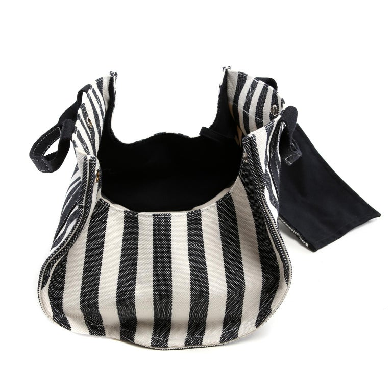 Hermes Black and White Striped Canvas Tote with pochette For Sale 8