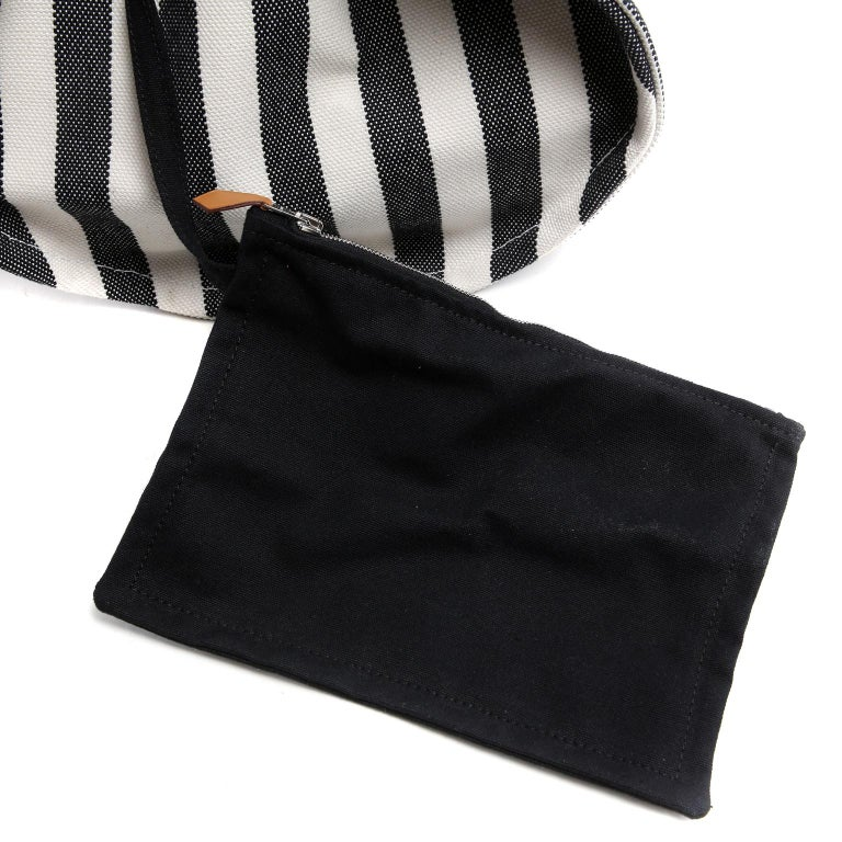 Hermes Black and White Striped Canvas Tote with pochette For Sale 10