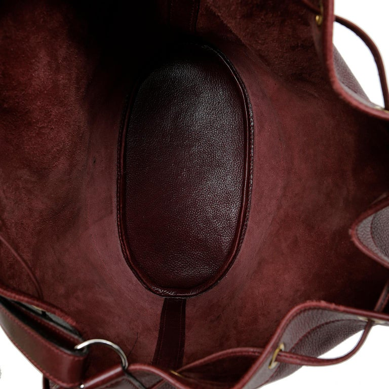 Hermes Bordeaux Leather Vintage Market Bucket Bag For Sale 8
