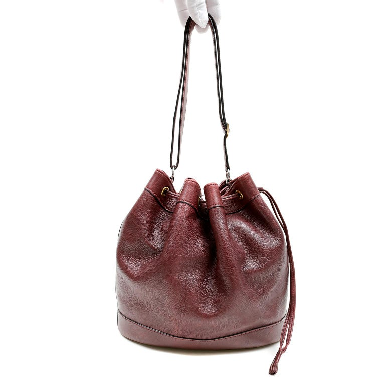 Hermes Bordeaux Leather Vintage Market Bucket Bag For Sale 9