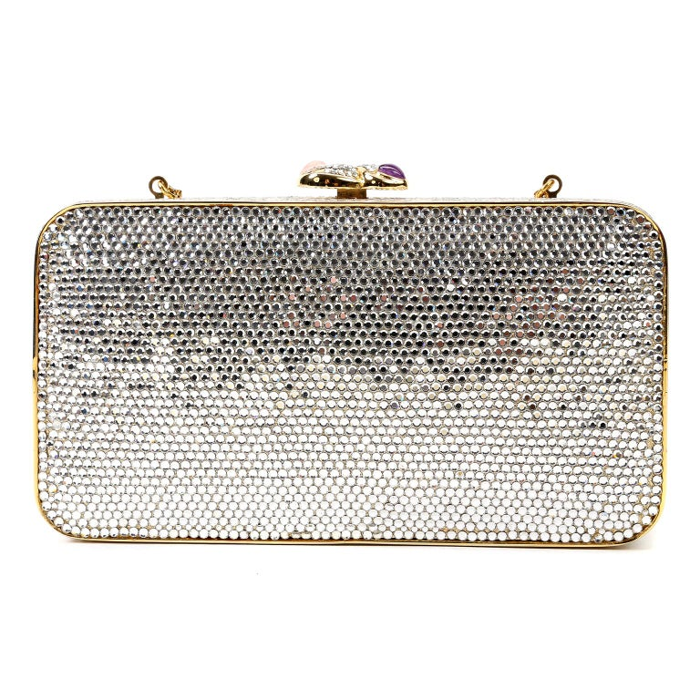 Gray Judith Leiber Crystal Hearts Evening Bag For Sale