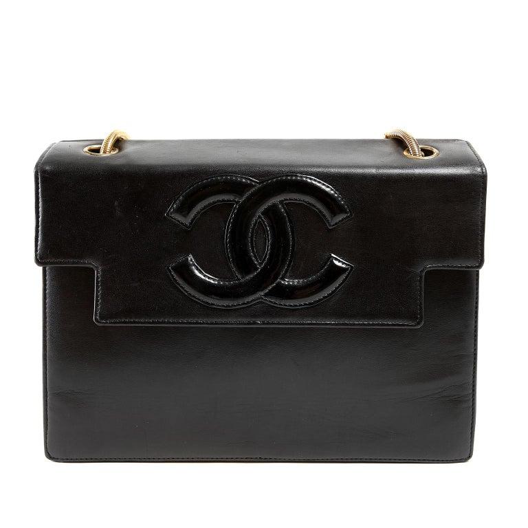 e420331d65c Chanel Vintage Black Leather Snake Chain Bag For Sale at 1stdibs