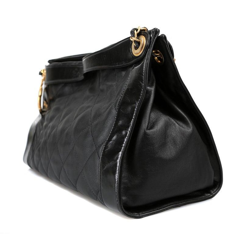 Women's Chanel Black Leather Overnight Travel Bag- Unisex For Sale