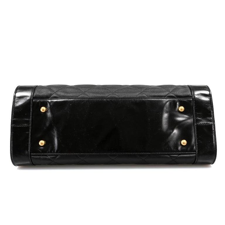 Chanel Black Leather Overnight Travel Bag- Unisex For Sale 1