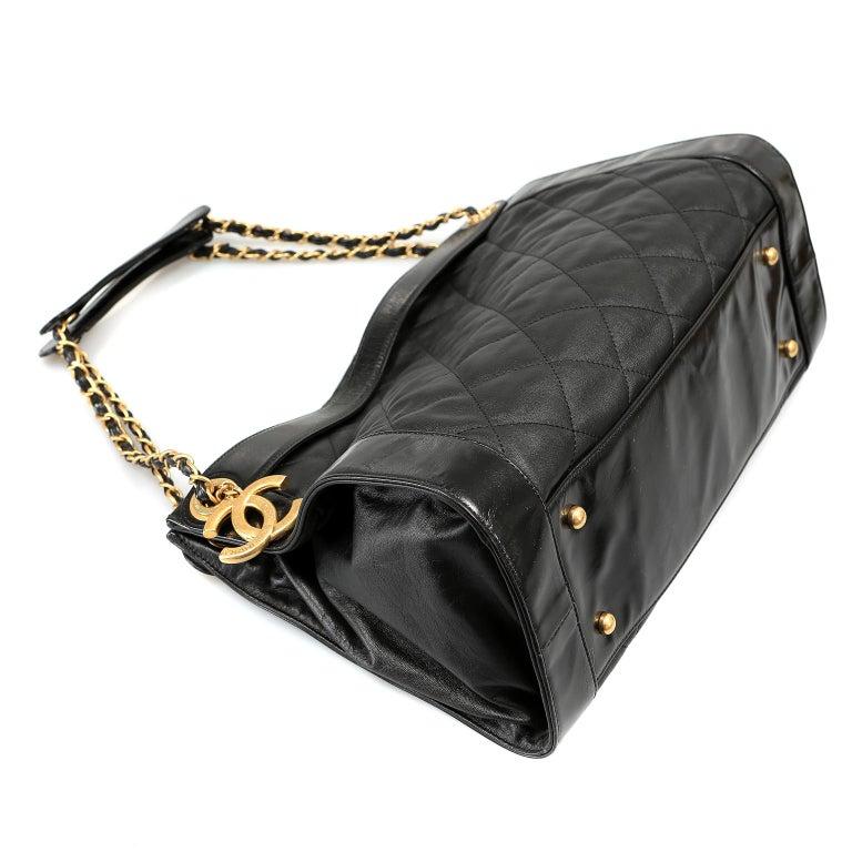 Chanel Black Leather Overnight Travel Bag- Unisex For Sale 2