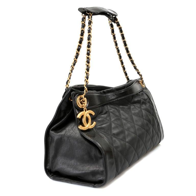 Chanel Black Leather Overnight Travel Bag- Unisex For Sale 3