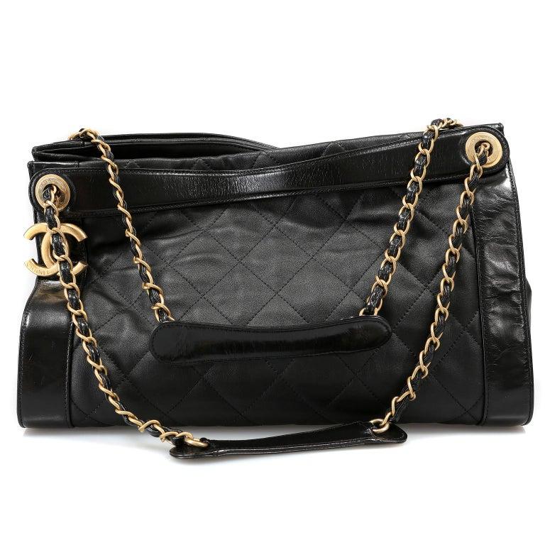 Chanel Black Leather Overnight Travel Bag- Unisex For Sale 4