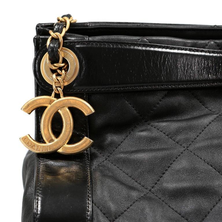 Chanel Black Leather Overnight Travel Bag- Unisex For Sale 5