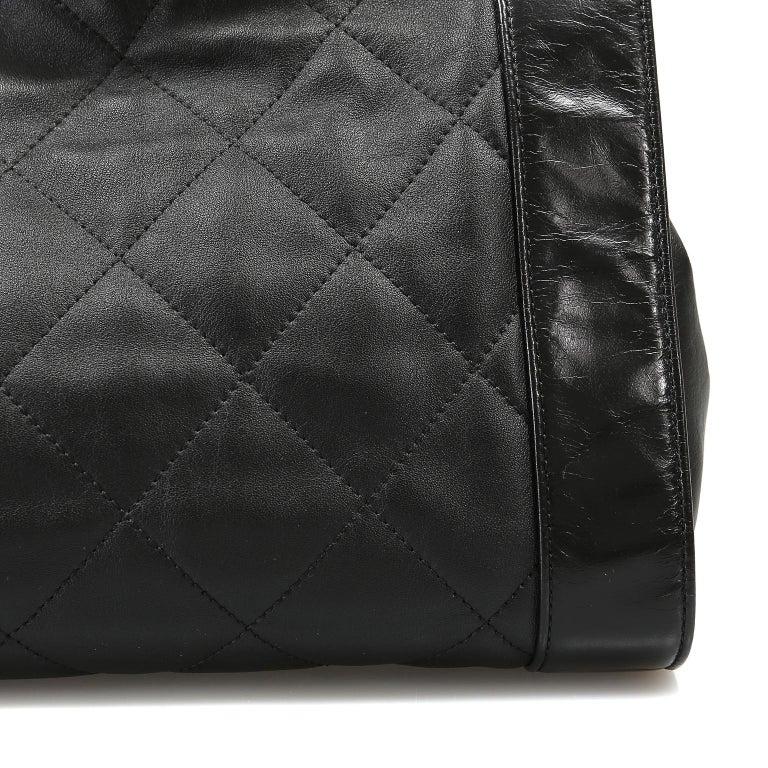 Chanel Black Leather Overnight Travel Bag- Unisex For Sale 6