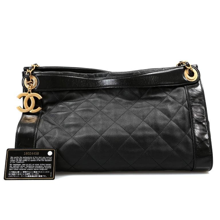 Chanel Black Leather Overnight Travel Bag- Unisex For Sale 15