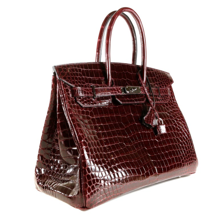 907015c72fa0 Hermès Bordeaux Porosus Crocodile 35 cm Birkin Bag For Sale at 1stdibs