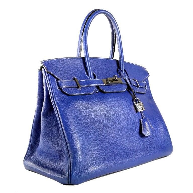 d7c51c58b4 Hermès Bleu Electrique Epsom 35 cm Birkin Bag with Mykonos Blue Interior In Excellent  Condition For