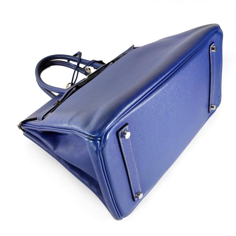 b9c1da91f7 Hermès Bleu Electrique Epsom 35 cm Birkin Bag with Mykonos Blue Interior For  Sale 1