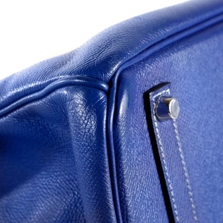 0b44016aff Hermès Bleu Electrique Epsom 35 cm Birkin Bag with Mykonos Blue Interior For  Sale 2