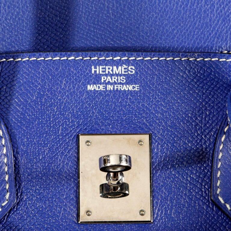 573c7b5845 Hermès Bleu Electrique Epsom 35 cm Birkin Bag with Mykonos Blue Interior For  Sale 4