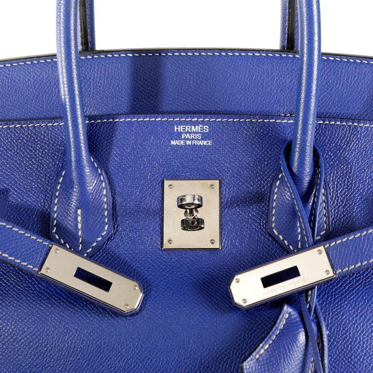 3f49d689ac Hermès Bleu Electrique Epsom 35 cm Birkin Bag with Mykonos Blue Interior For  Sale 5
