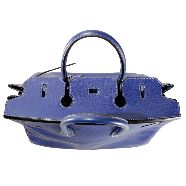 34ae0092fa Hermès Bleu Electrique Epsom 35 cm Birkin Bag with Mykonos Blue Interior For  Sale 7